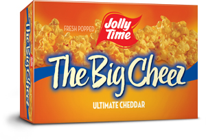 Jolly Time The Big Cheez Microwave Popcorn. A gourmet cheddar cheese flavored popcorn containing gluten-free, non-GMO kernels thumbnail